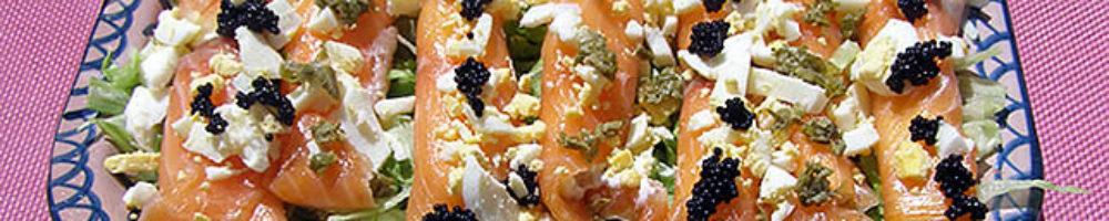Rollitos de salmón rellenos de crema de queso