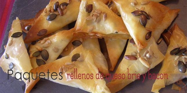 Paquetes de pasta filo rellenos de queso brie y bacon